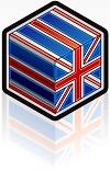 Kube med britiske farger som illustrerer oversettelse til engelsk utført av Samtext UK oversettelsesbyrå.