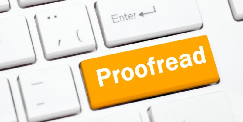 Tastaturtast som det står «Proofread» på.